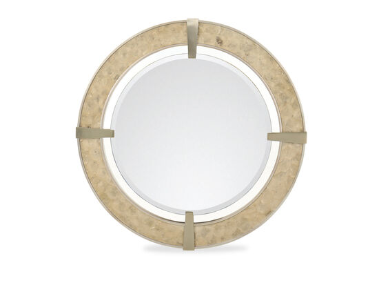 Contemporary Round Mirror in Brown
