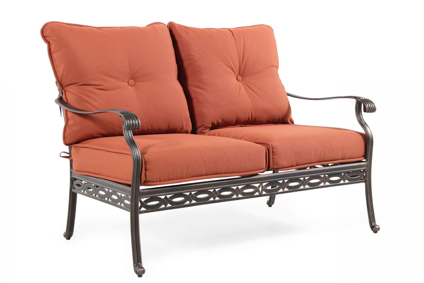 Button Tufted Traditional Loveseat With Cushion In Red Mathis Brothers Furniture