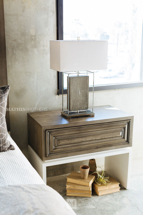 "30"" Modern One-Drawer Nightstand in Rustic Gray"