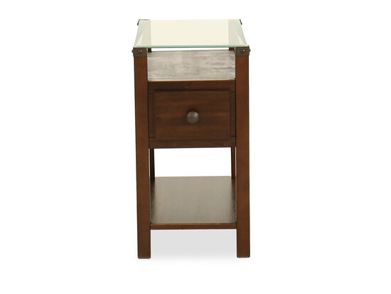Contemporary Glass Top End Table in Dark Brown