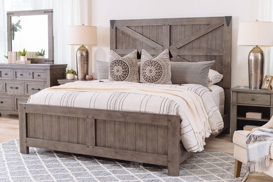 Four-Piece Rustic Farmhouse King Bedroom Suite in French Gray