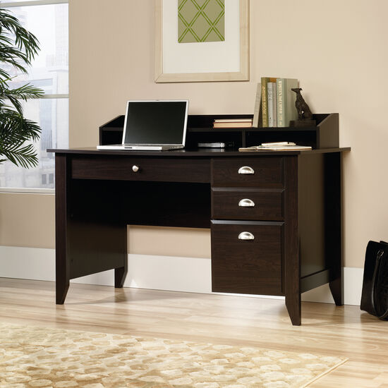 "53"" Transitional Three-Drawer Desk in Jamocha Wood"