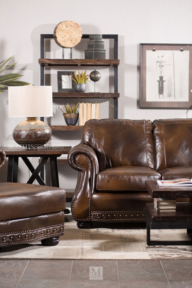Traditional Leather 88 Sofa In Brown Mathis Brothers