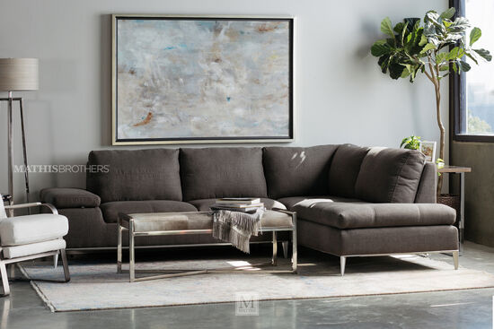 "Casual 74"" Sectional in Charcoal"