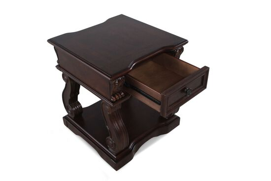 Square One-Drawer Traditional End Tablein Walnut Brown