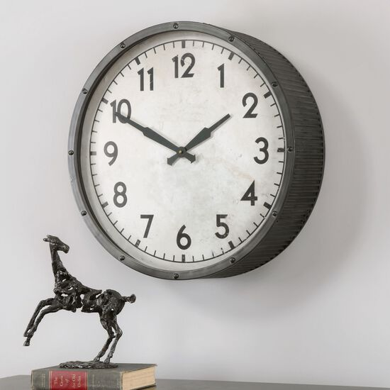 Ribbed Round Wall Clock in Ivory