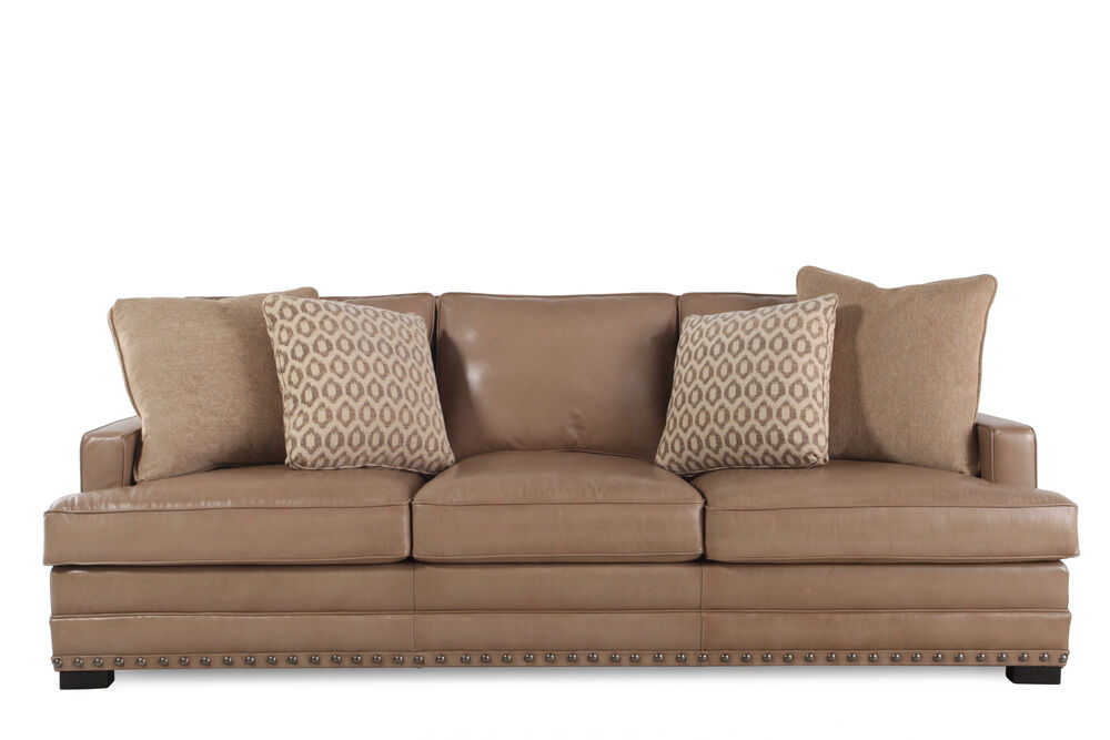Images Nailhead Accented Leather 94 Sofa In Saddle Brown