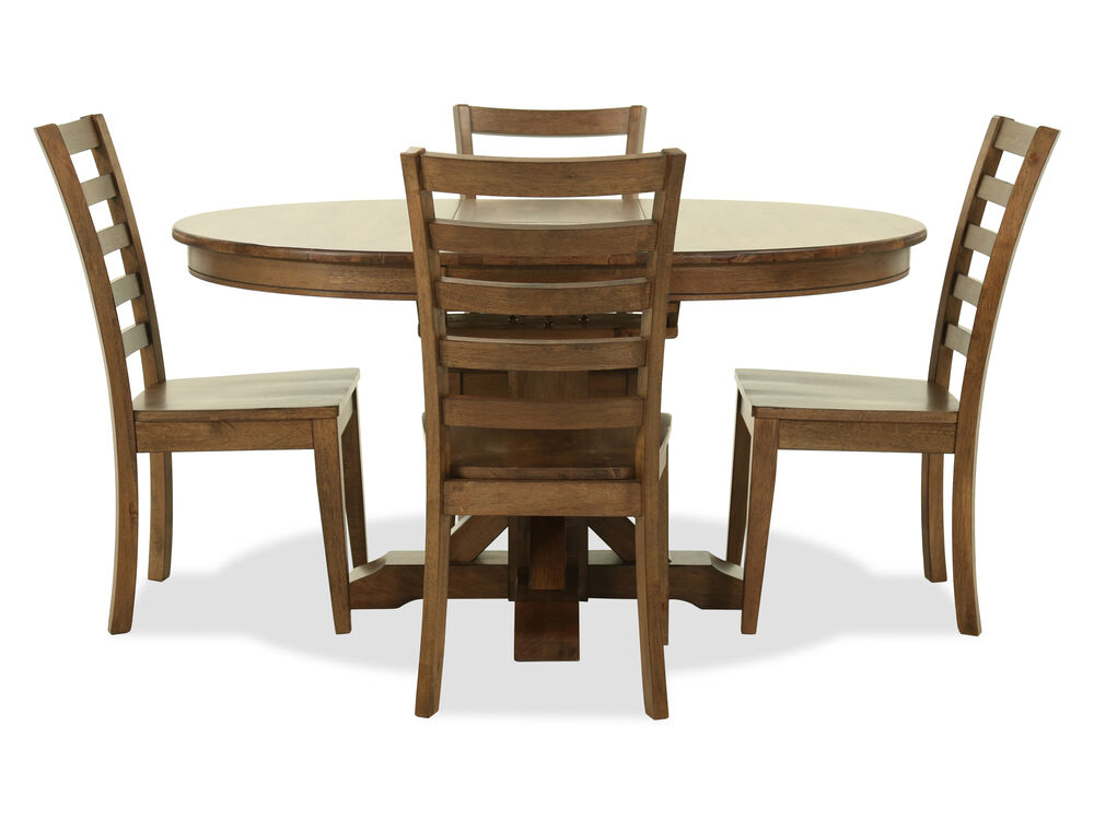 Five Piece Transitional Dining Set In Rustic Brown Mathis Brothers