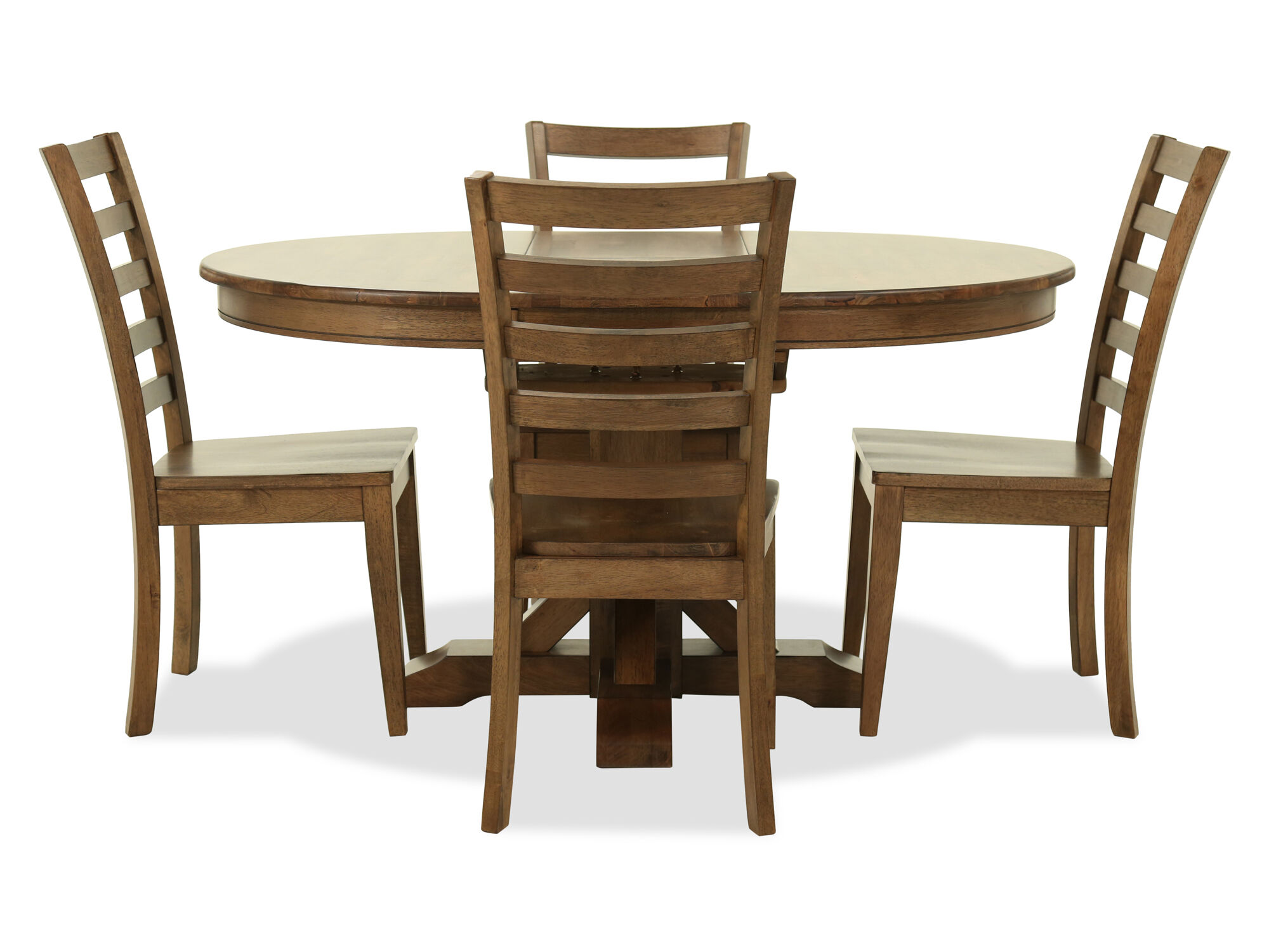 five piece transitional dining set in rustic brown mathis brothers furniture. Black Bedroom Furniture Sets. Home Design Ideas