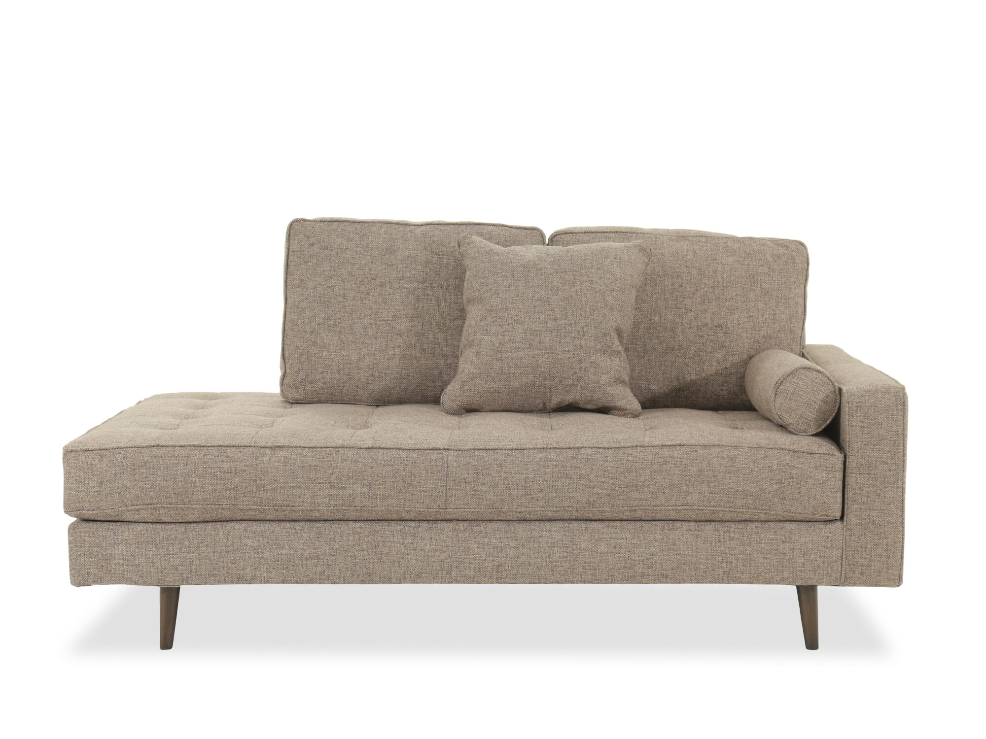 Tufted Mid Century Modern Right Arm Chaise In Jute Mathis Brothers