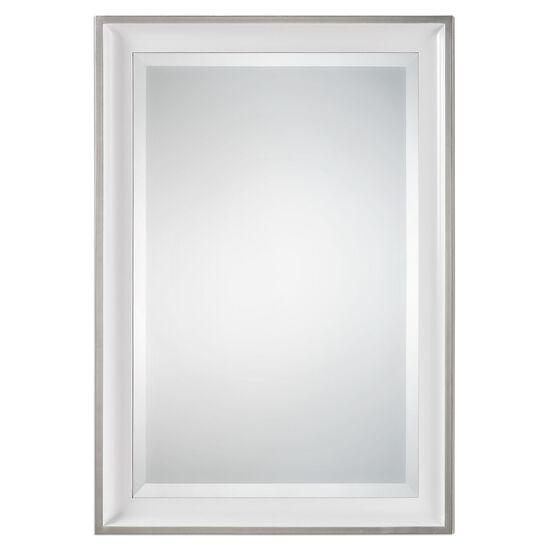 """34"""" Sloped Profile Frame Mirrorin Gloss White"""