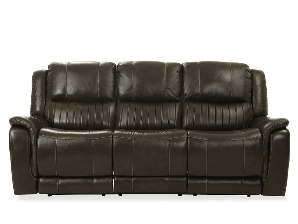 Images Contemporary Leather Reclining Sofa In Gray