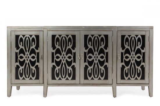 34'' Four-Door Contemporary Console Chest in Gray