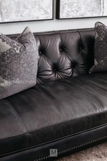 Nailhead-Accented Leather Sofa in Slate
