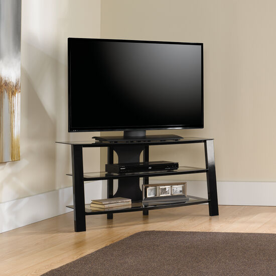 Tempered Glass Shelf Contemporary Panel TV Stand in Black