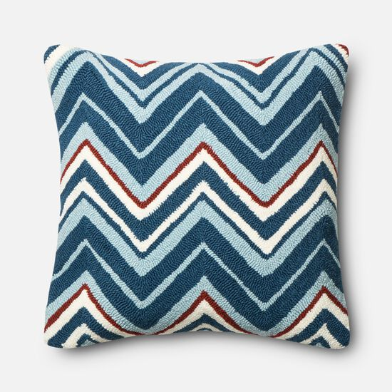 "Indoor/Outdoor 22""x22"" Pillow Cover Only in Navy/Red"