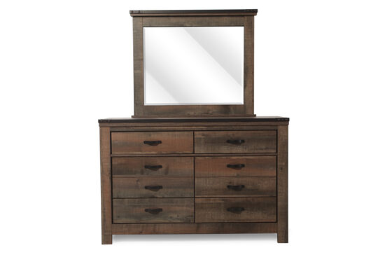 Six-Drawer Rustic Farmhouse Youth Dresser and Mirror  in Distressed Brown