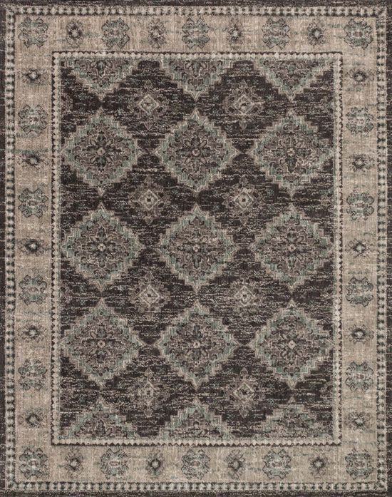 "Contemporary 7'-9""x9'-9"" Rug in Charcoal/Taupe"