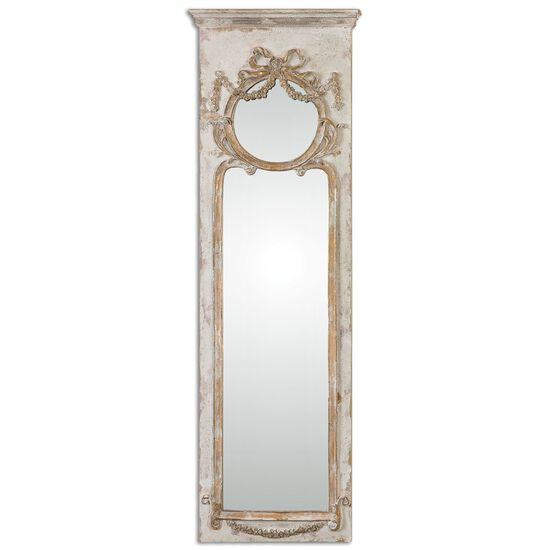 """50"""" Distressed Accent Mirror in Antiqued Ivory"""