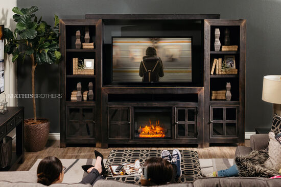 "20"" Remote Controlled Contemporary Fireplace Insert in Black"