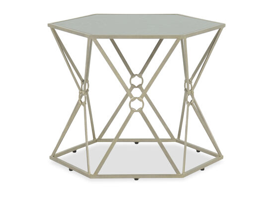 Contemporary Hexagon Bunching Table in Ivory