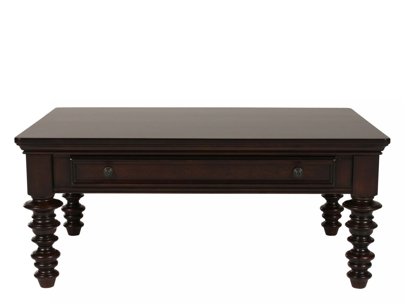 Spindle leg traditional cocktail table in dark brown for Cocktail tables