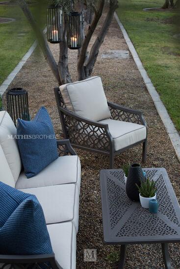 Lattice-Back Cushioned Patio Club Chair in Brown