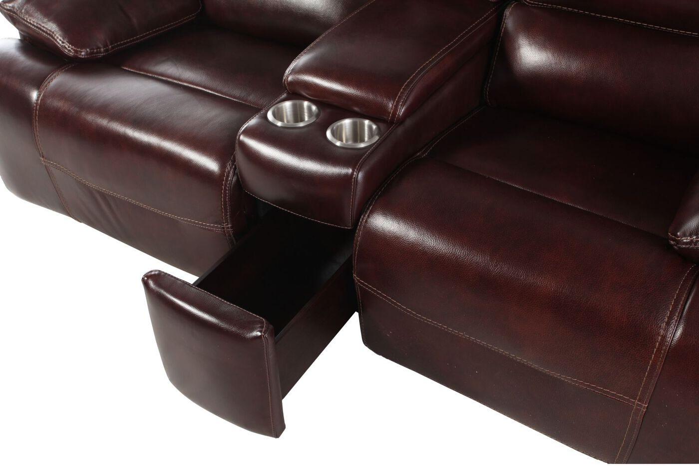itm and console with air leather center dark gliding loveseat reclining sherry brown