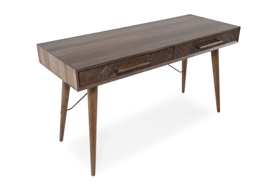 """56"""" Mid-Century Modern Two-Drawer Writing Desk in Brown"""
