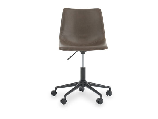 Armless Swivel Office Chair in Brown