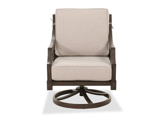 Trellis-Patterned Aluminum Patio Club Swivel Chair in Brown