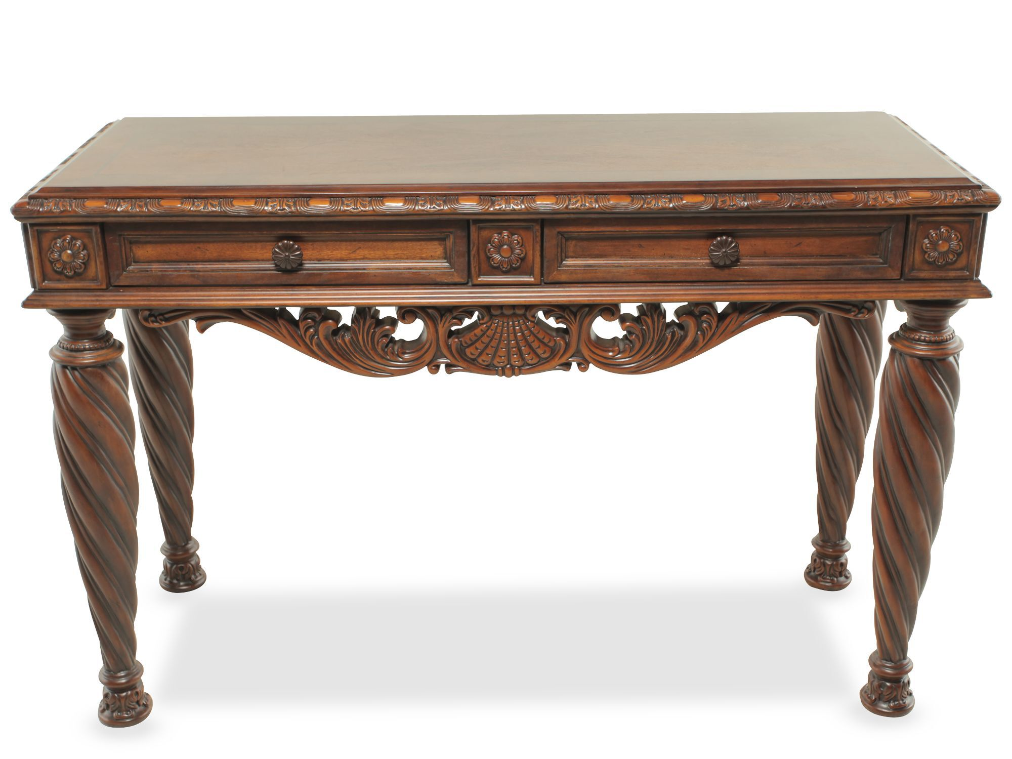 Bon Images Carved Legs Traditional Console Table In Medium Brown Carved Legs Traditional  Console Table In Medium Brown