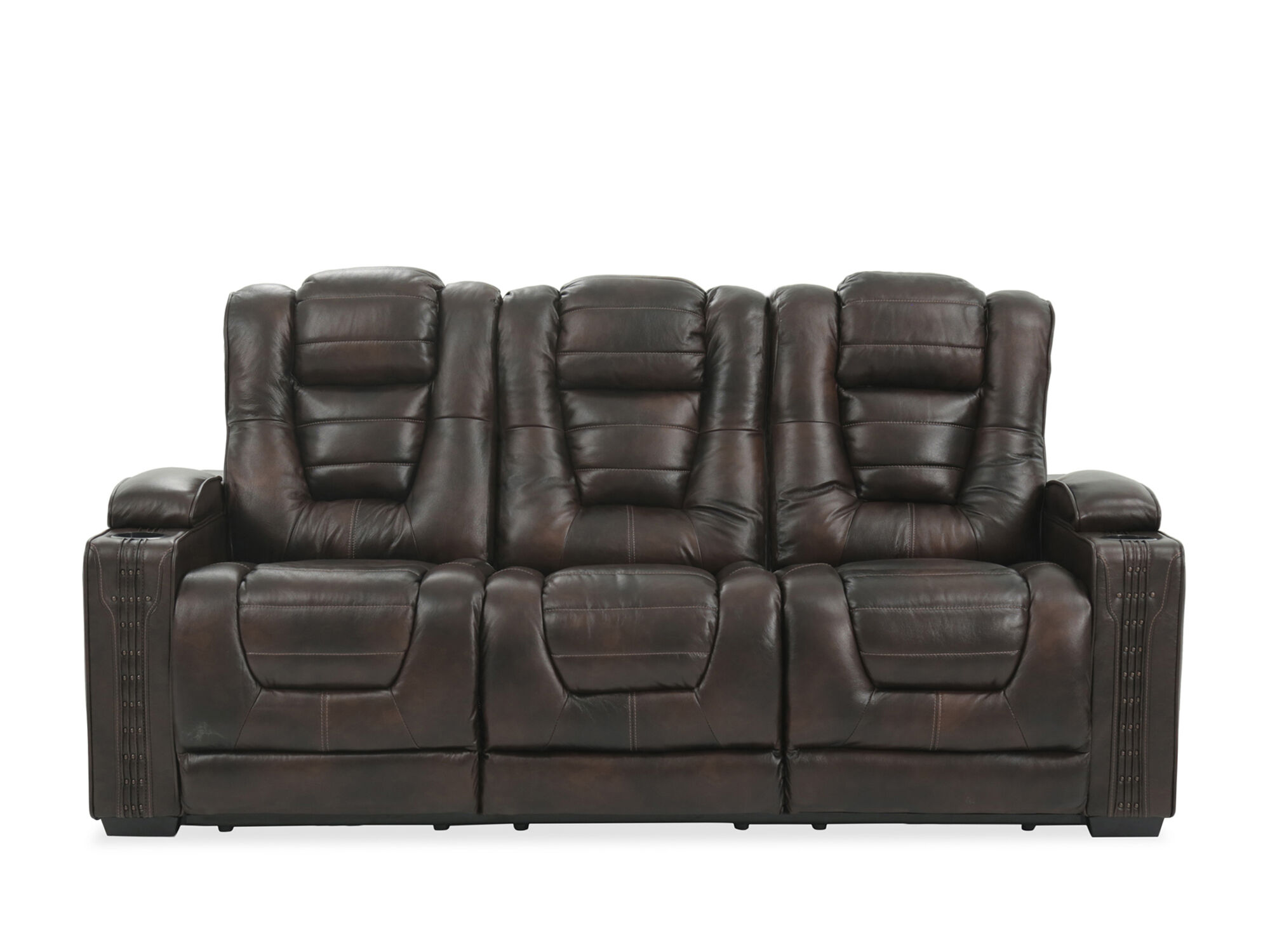 leather 84 power reclining sofa with cup holder in brown mathis rh mathisbrothers com reclining sofa with cup holders canada recliner sofa with cup holders uk
