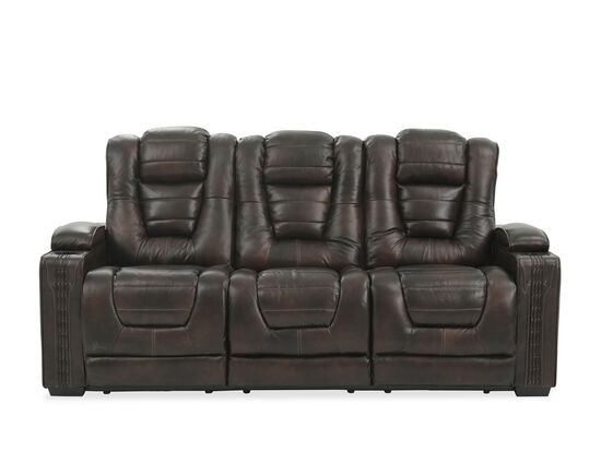 "Leather 84"" Power Reclining Sofa with Cup Holder in Brown"