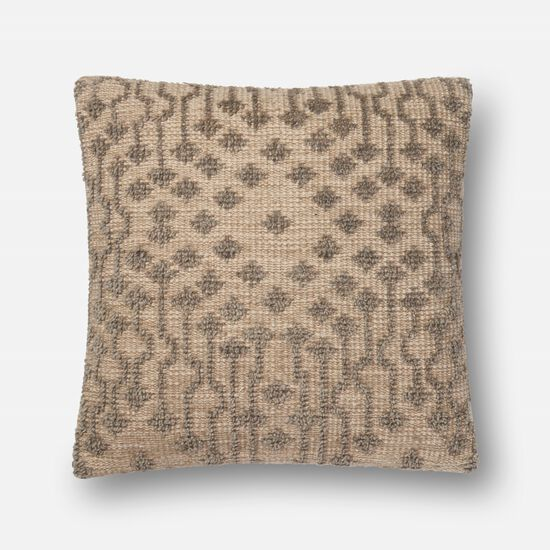 "Contemporary 22""x22"" Cover w/Poly Pillow in Taupe"