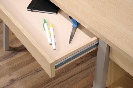 """50.5"""" Traditional Two-Drawer Desk in Urban Ash"""