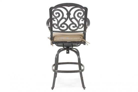 Scroll-Back Aluminum Swivel Bar Stool with Cushion in Black