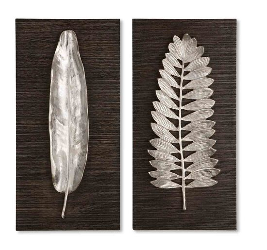 Brushed Aluminum Leaf Wall Art in Silver