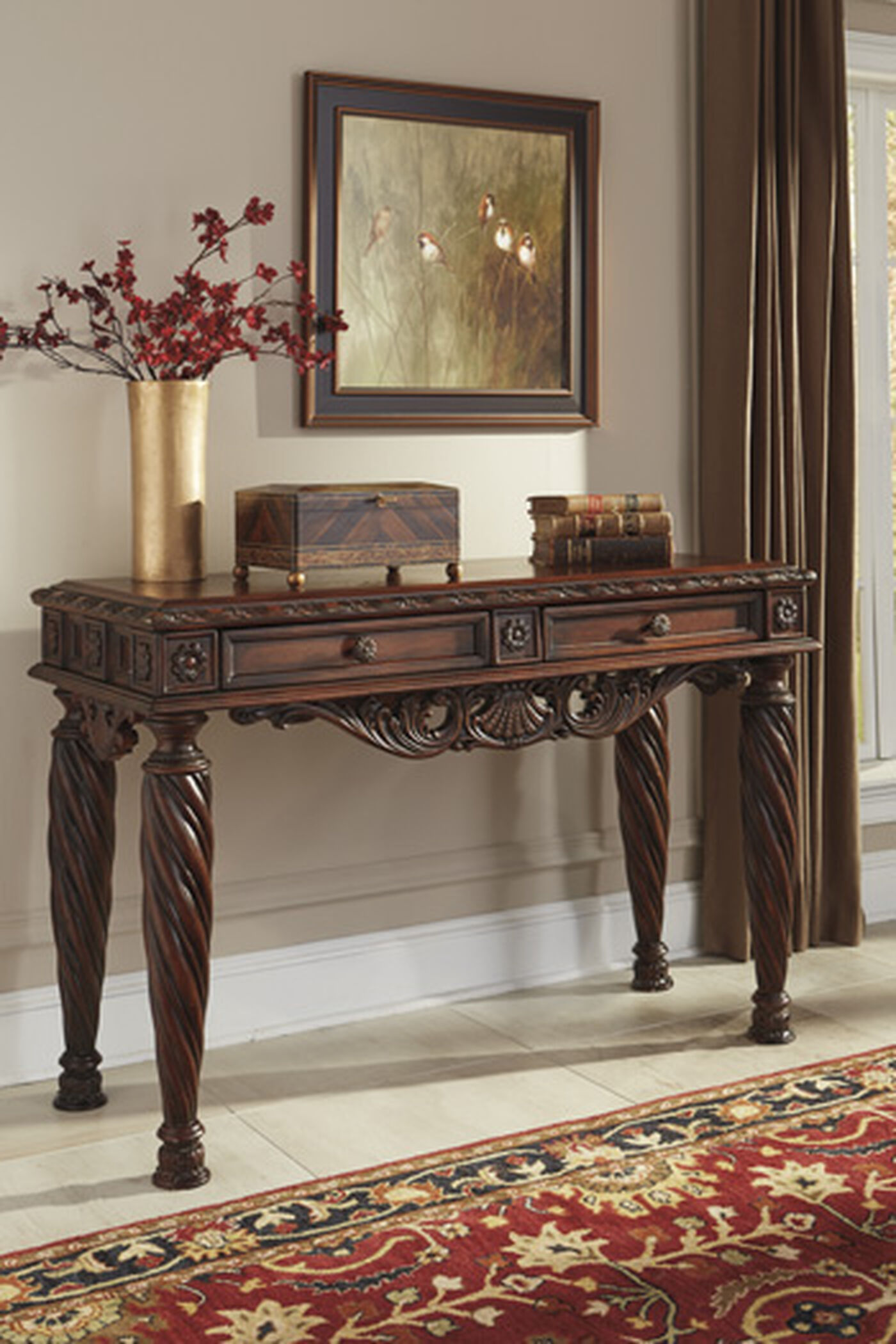 Scrolled Front Traditional Sofa Table in Dark Brown  : T963 4BIG from www.mathisbrothers.com size 667 x 1000 jpeg 119kB