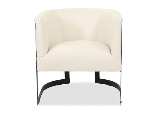 Barrel Back Leather 29'' Chair in White