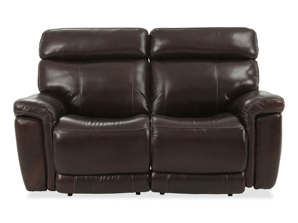 Power Reclining Casual Leather 68 Quot Loveseat In Brown