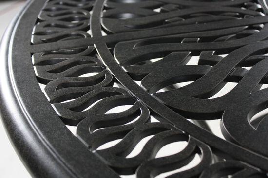 Lattice Patterned Aluminum Round Bar Tablein Black