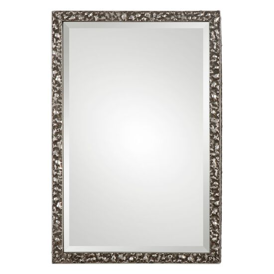 "38.5"" Hammered Frame Mirror in Burnished Metallic Silver"