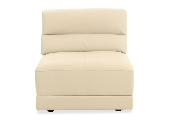 Casual Leather Armless Chair in  Light Stone