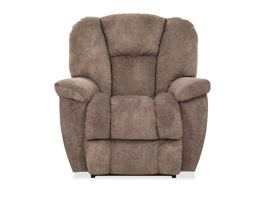 """Casual 38"""" Leather Rocker Recliner in Gray"""