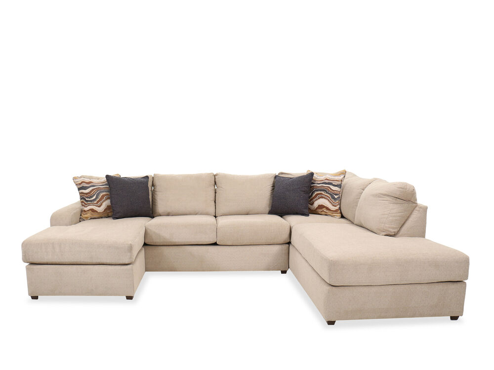 Casual Two Piece Sectional In Beige
