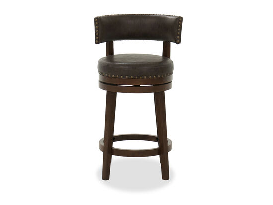 """36"""" Nailhead Accented Swivel Barstool in Chocolate"""