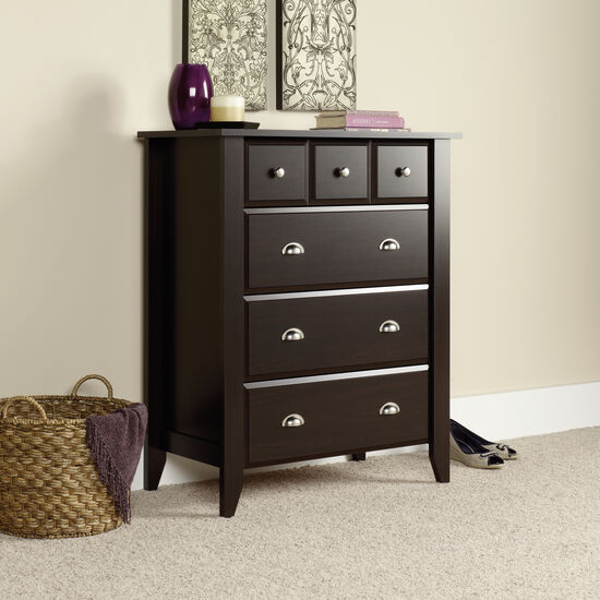 "43"" Traditional Paneled Four-Drawer Chest in Jamocha Wood"