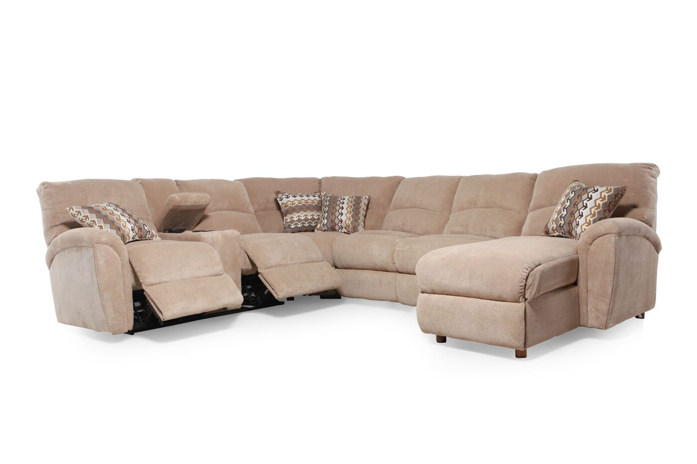 Casual sectional in latte mathis brothers furniture for Sectional sofas mathis brothers