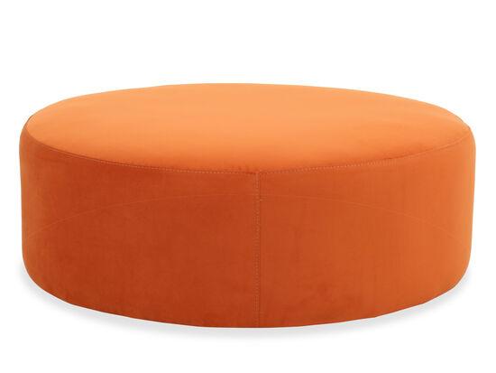 """Modern 42"""" Round Cocktail Ottoman in Orange"""